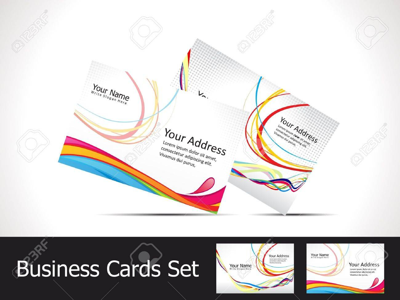 Abstract colorful rainbow business card template vector illustration abstract colorful rainbow business card template vector illustration stock vector 12274329 reheart Gallery