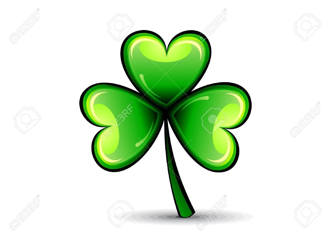 abstract st patrick green shiny clover vector illustration Stock Vector - 12491141