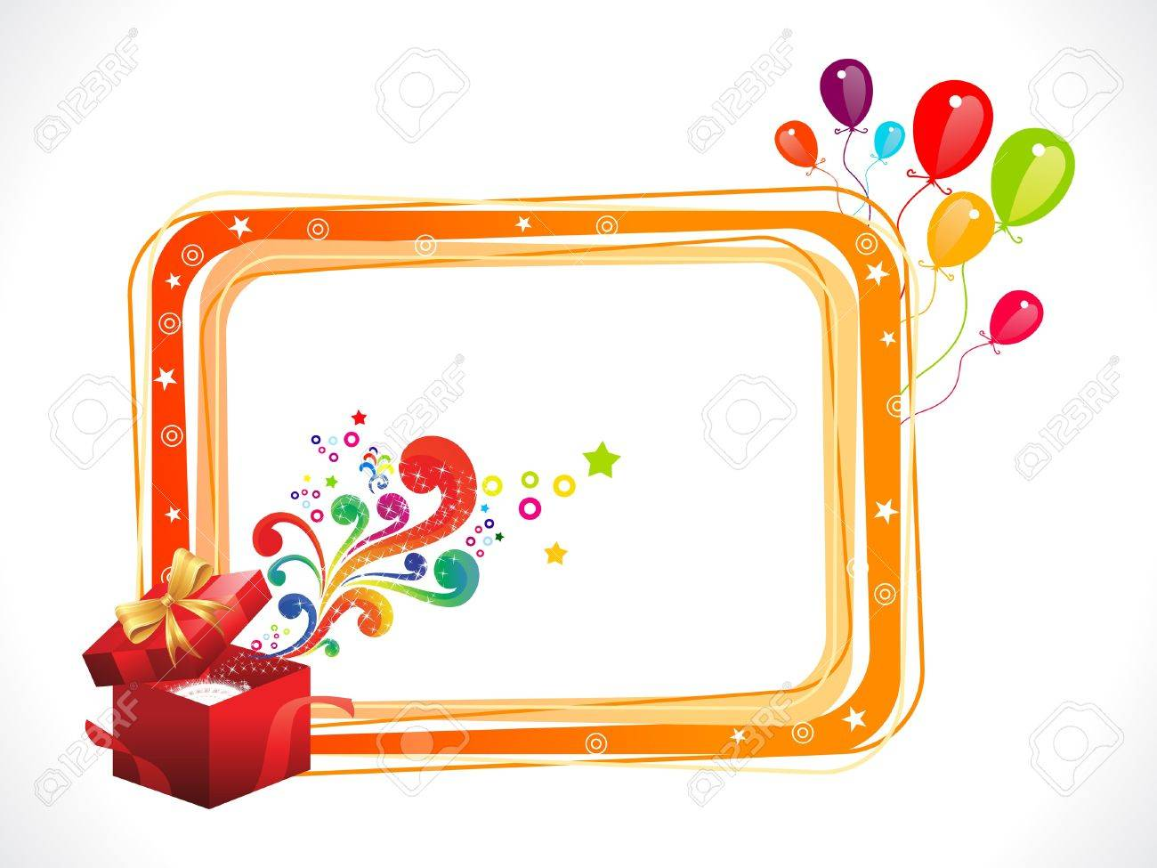 Abstract Colorful Birthday Frame With Magic Box Royalty Free ...