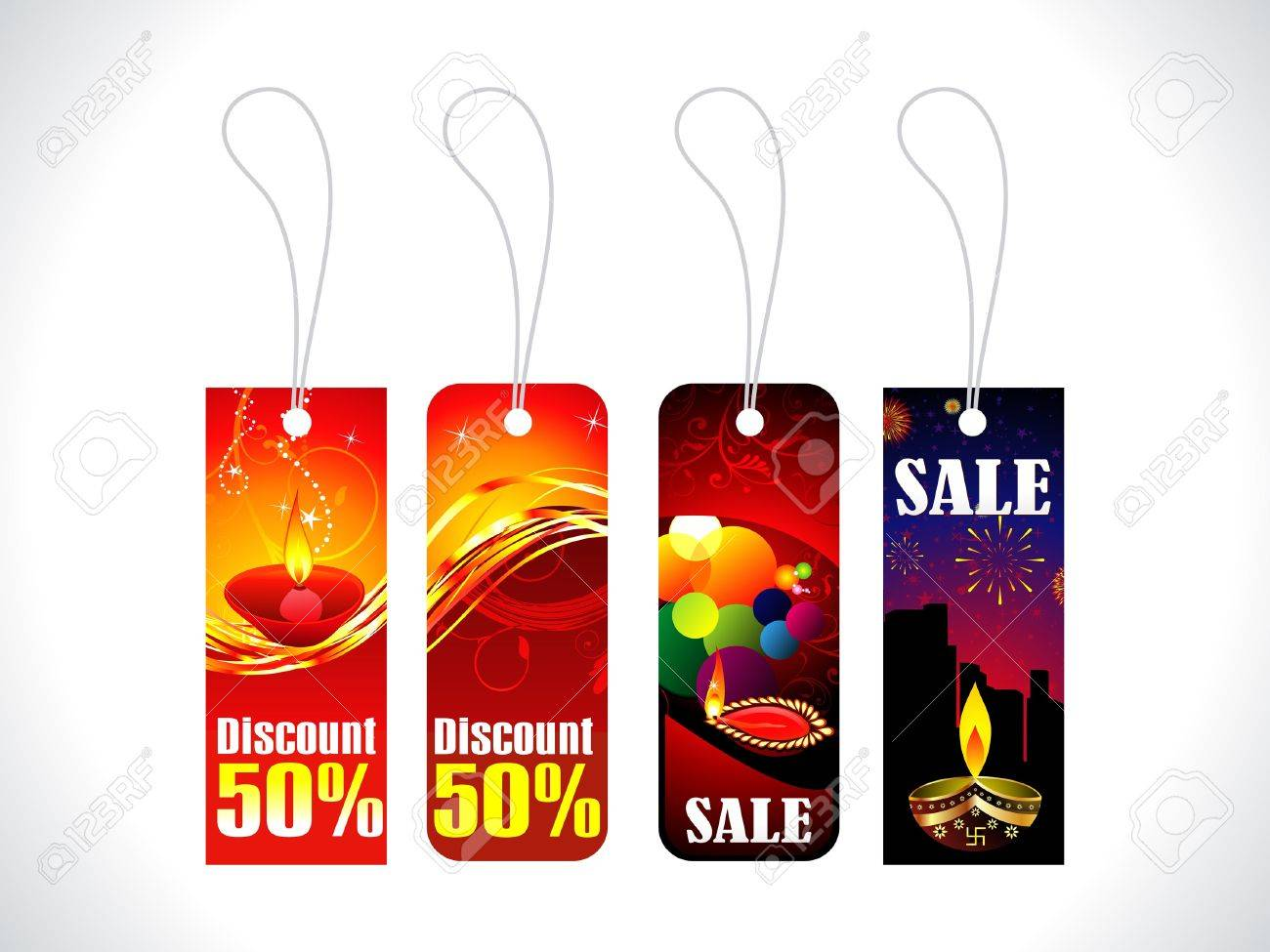 abstract diwali sale tag template vector illustration royalty free