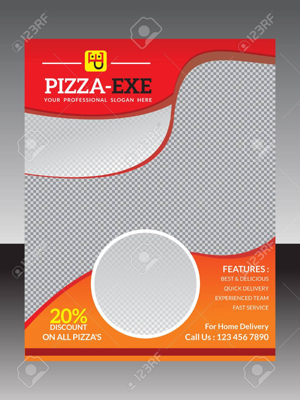 abstract pizza flyer template vector illustration royalty free