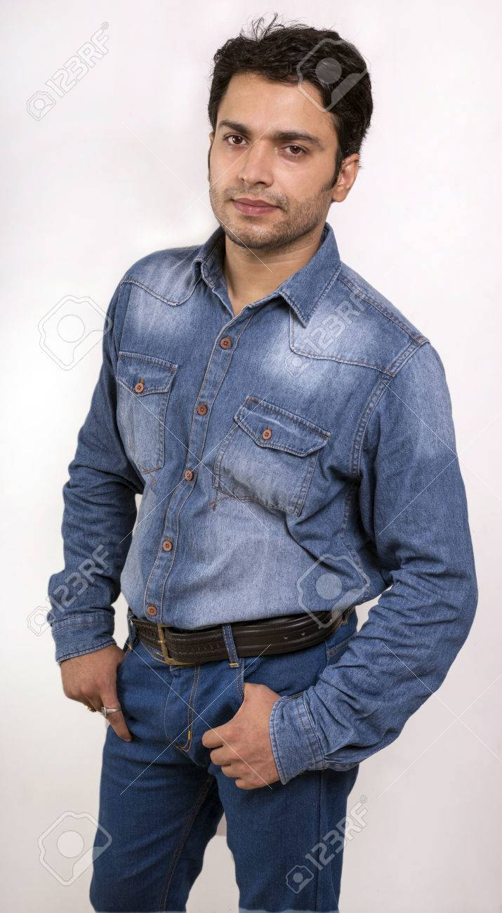 Indian Male Model In Blue Jeans Front Side Pose Stock Photo Picture And Royalty Free Image Image 64460763