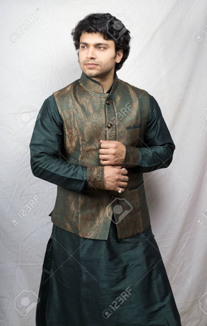 Young Indian Male Model In Artistic Green Kurta Side Pose Stock Photo Picture And Royalty Free Image Image 77229328