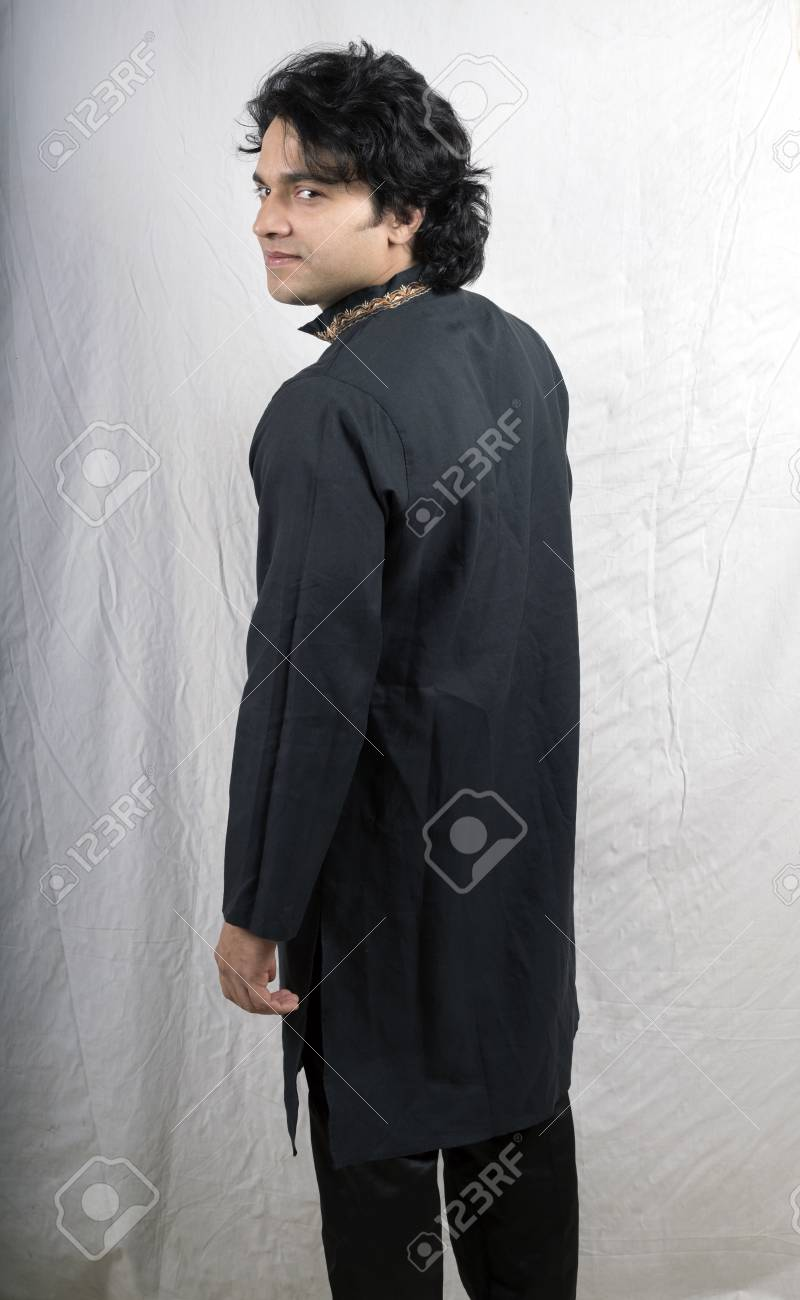 Young Male Model In Black Kurta Back Pose Stock Photo Picture And Royalty Free Image Image 92485991