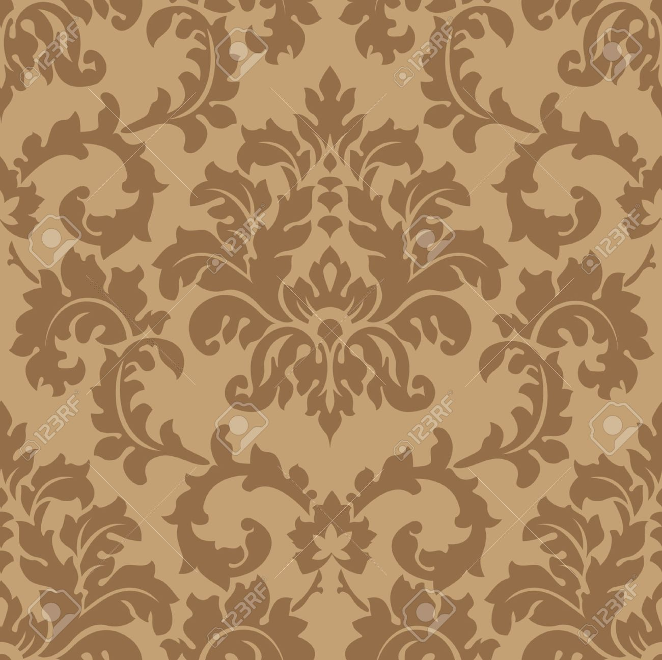 Seamless Damask wallpaper Stock Vector   6119236. Seamless Damask Wallpaper Royalty Free Cliparts  Vectors  And