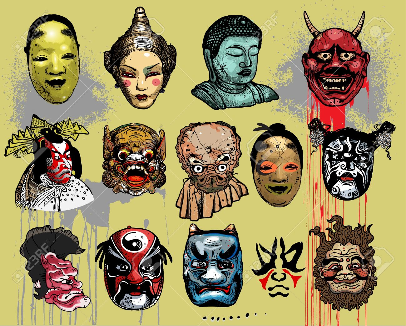 Asian masks Stock Vector - 8062154