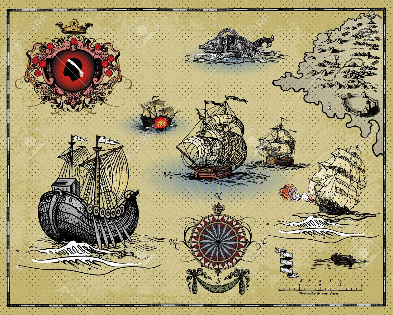 Antique Map Royalty Free Cliparts Vectors And Stock Illustration - Antiques us maps with compass