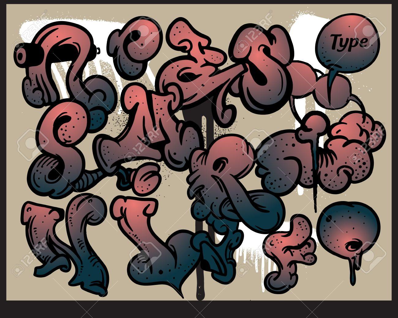 Graffiti alphabet vector Stock Vector - 12658594