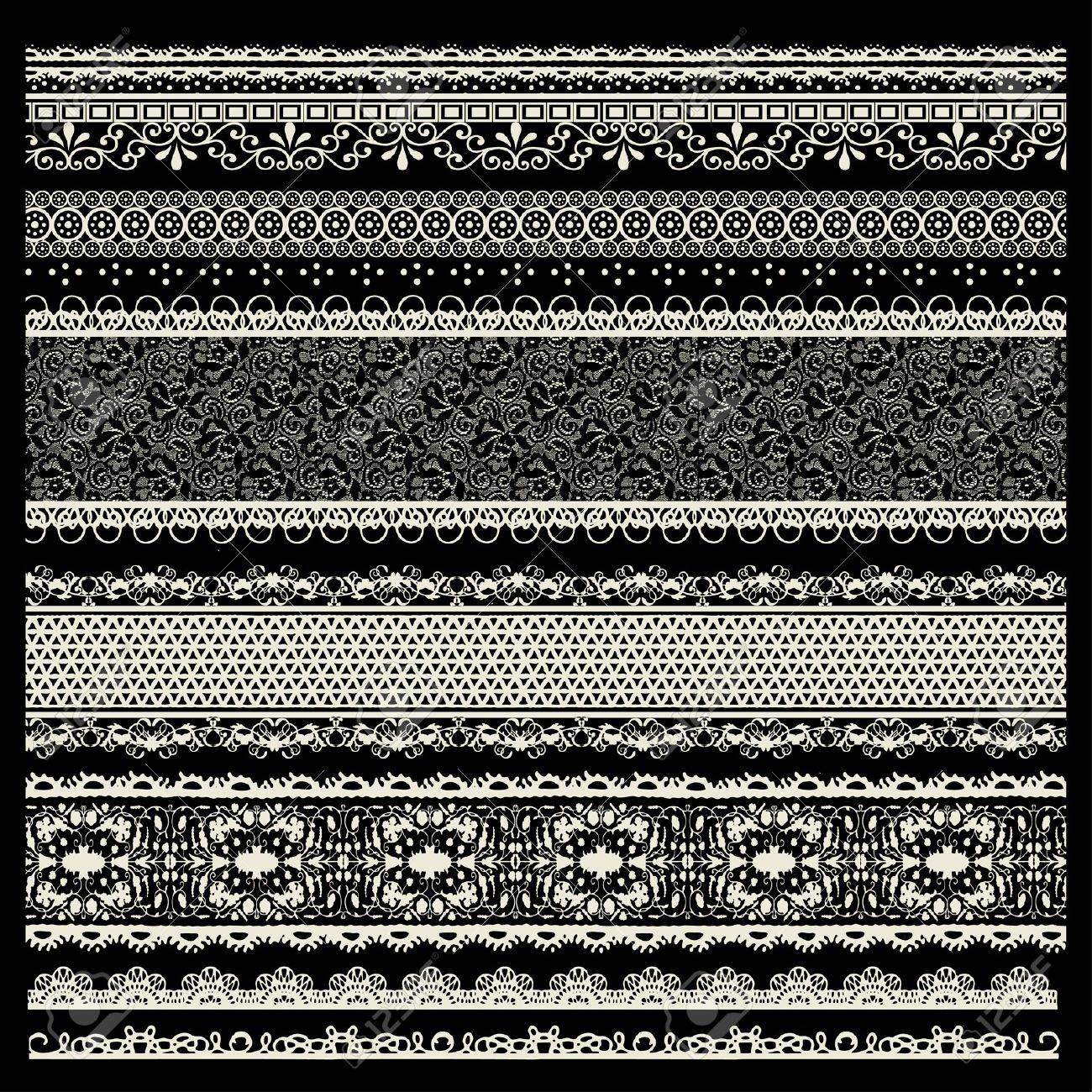 vector set of lace trims Stock Vector - 20239448