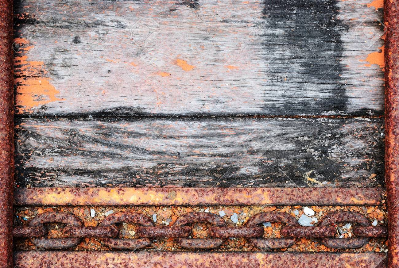 The old truck floor with old chain and metal frame background Stock Photo - 19005363