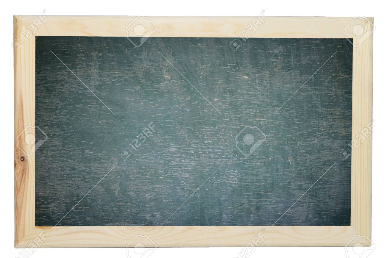 green chalkboard texture with wood frame on isolated white stock photo 50033368