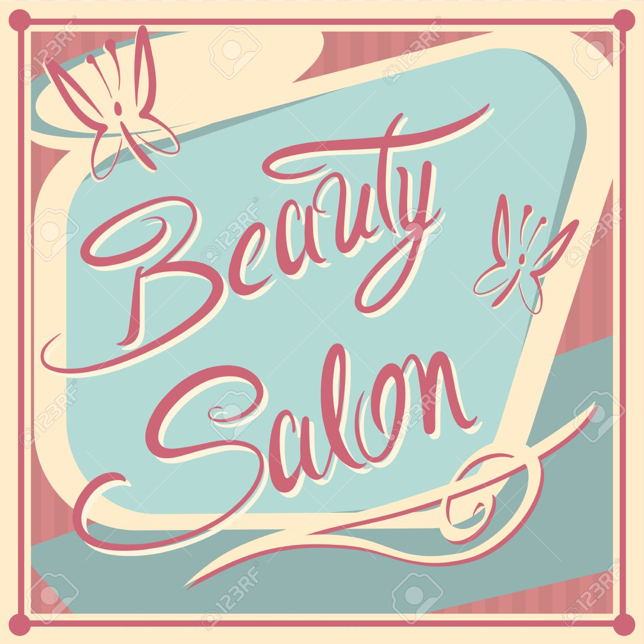 Vintage Beauty Salon Advertisement Sign Royalty Free Cliparts