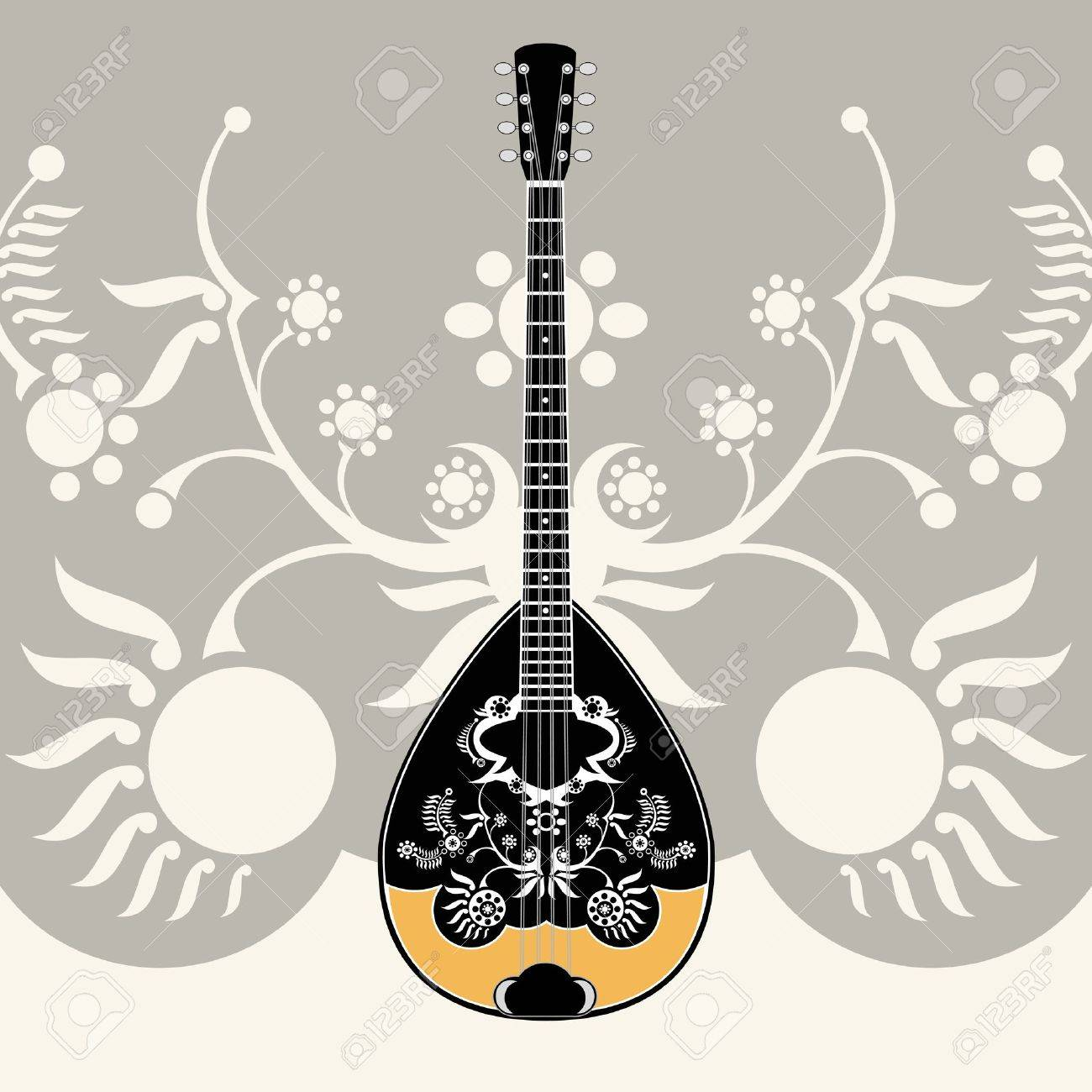stylized greek folk musical instrument with decorative background, Stock Vector - 11187373