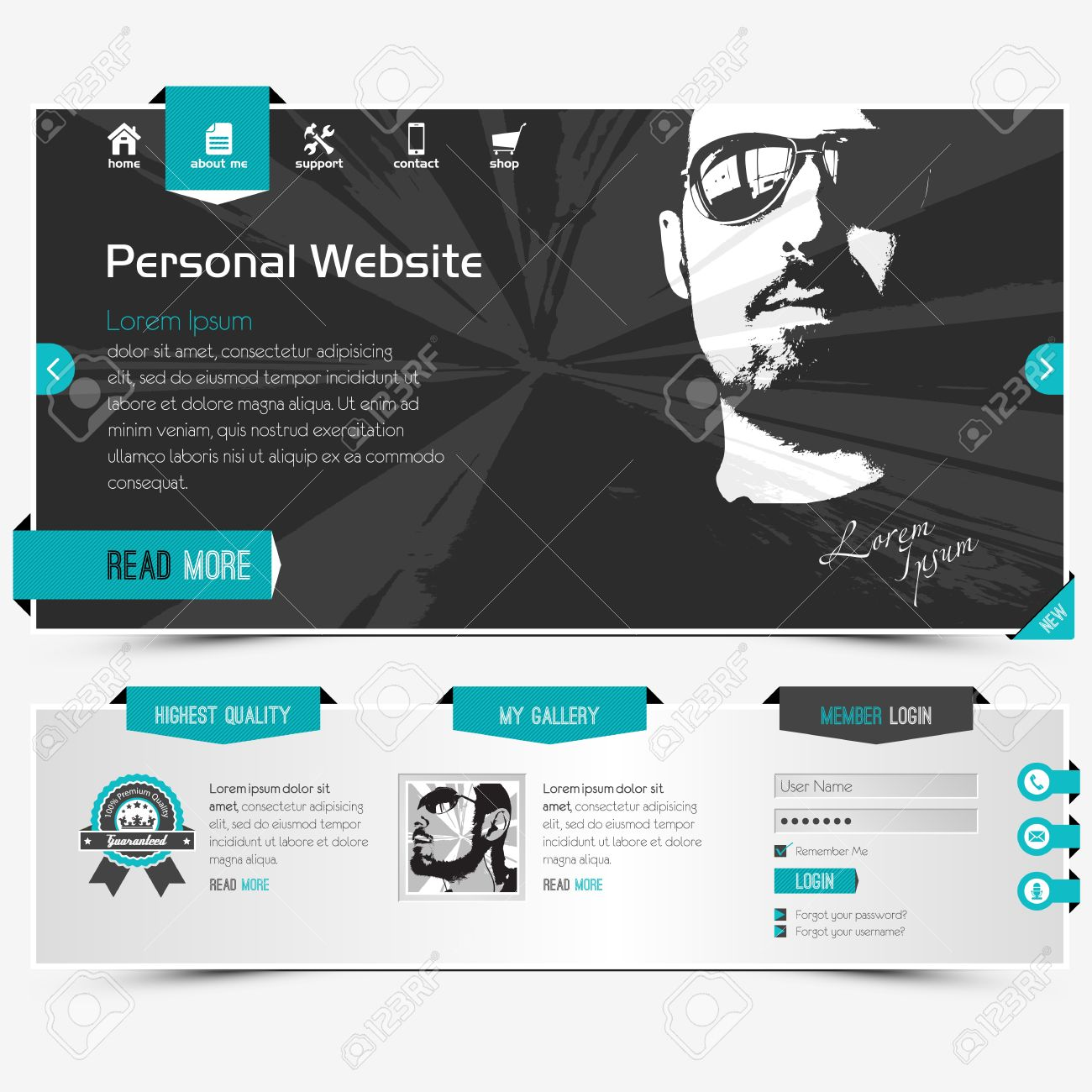 website template for personal profile contains textured labels