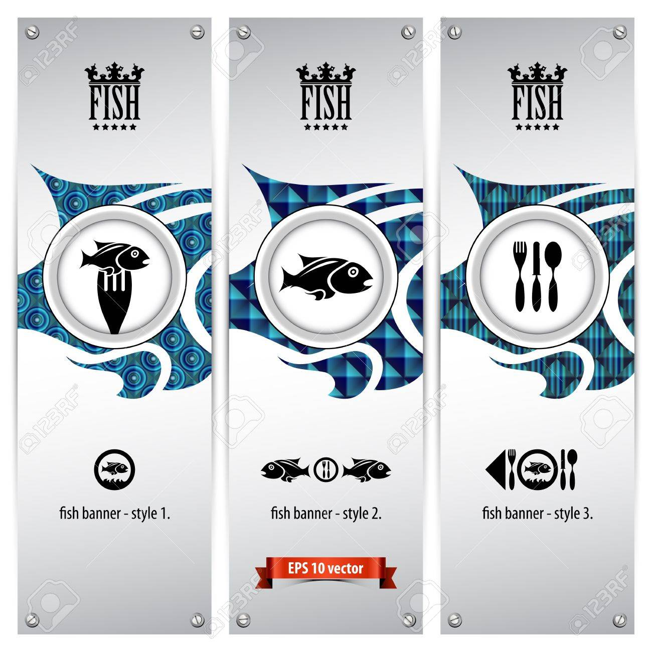 three variations of fish banners with different geometrical designs, these templates are ideal for web banners, eps 10, contain transparencies Stock Vector - 20015661