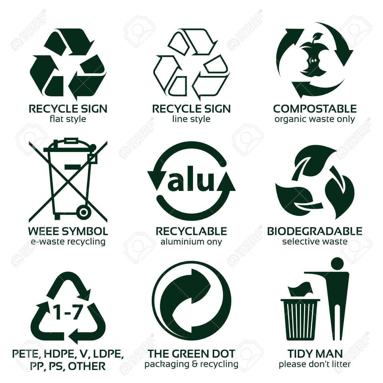 flat icon set for green eco packaging vector illustration and