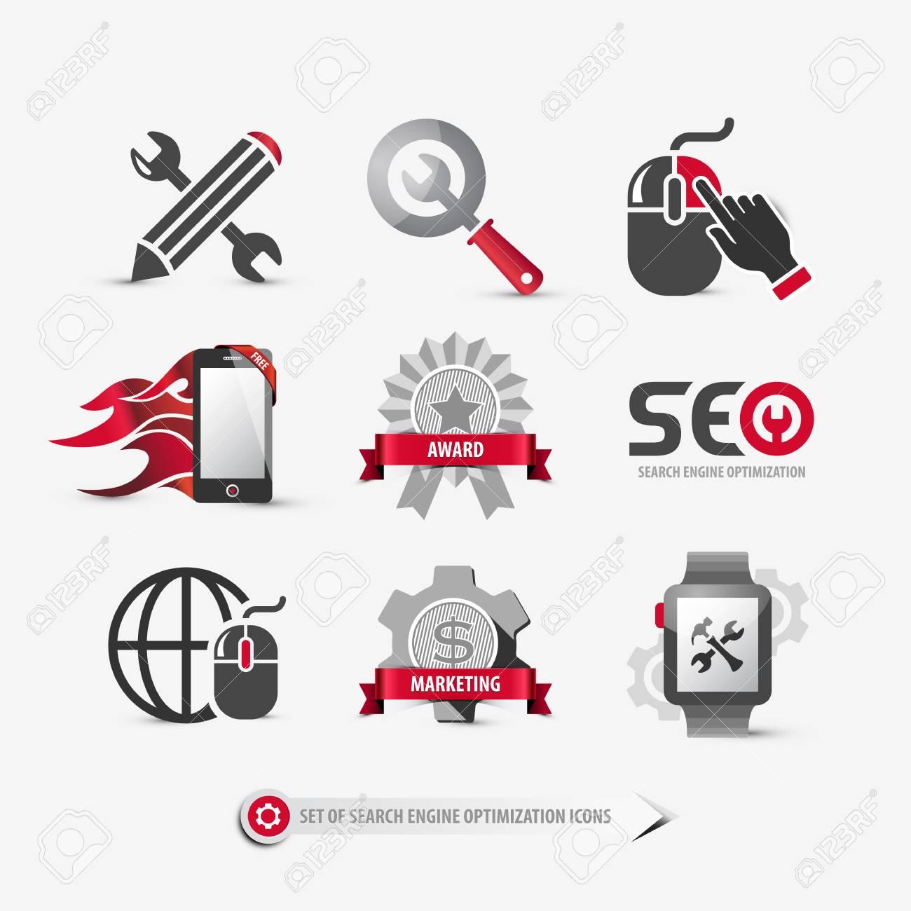 set of seo icons containing: search engine optimization symbols,