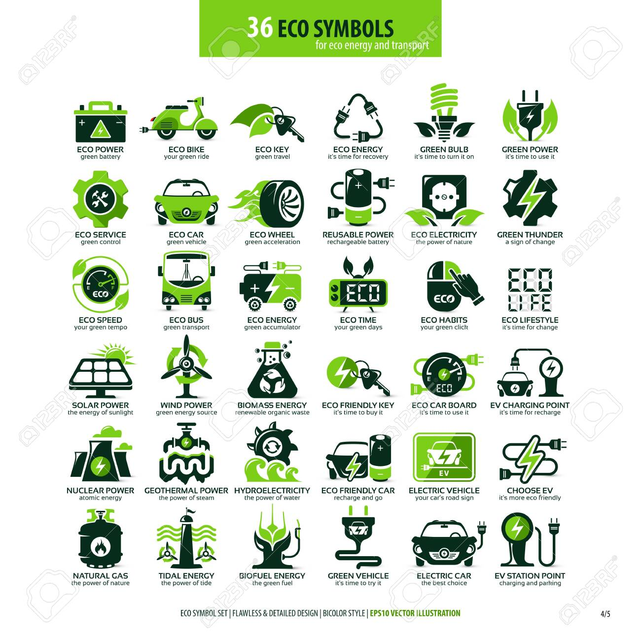 collections of eco friendly flat symbols, high detailed icons, graphic design web elements, alternative ecological concept, isolated emblems on clean white background - 126885301