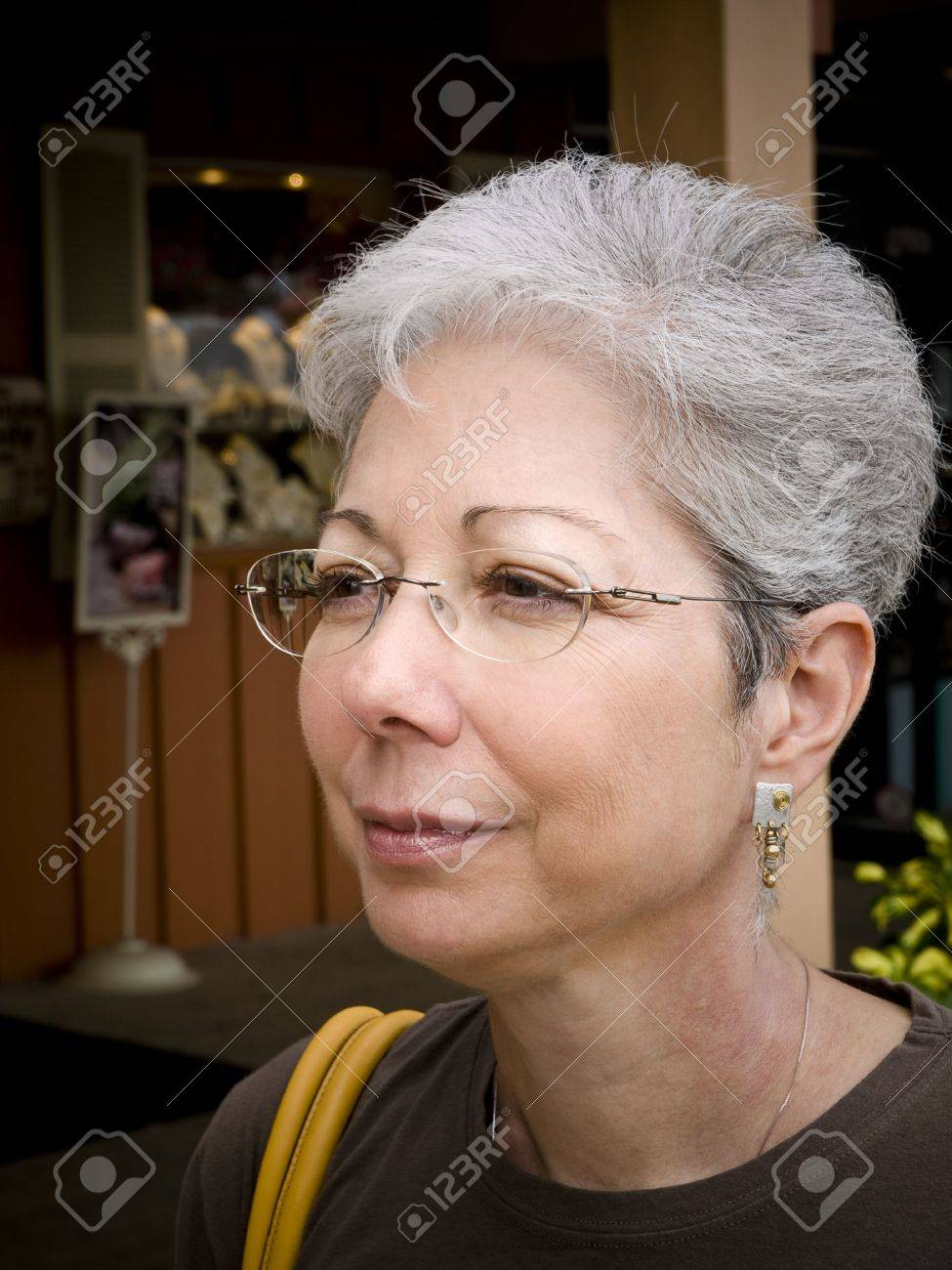 Photo image of a mature gray haired woman with glasses in profile Stock  Photo - 5881718