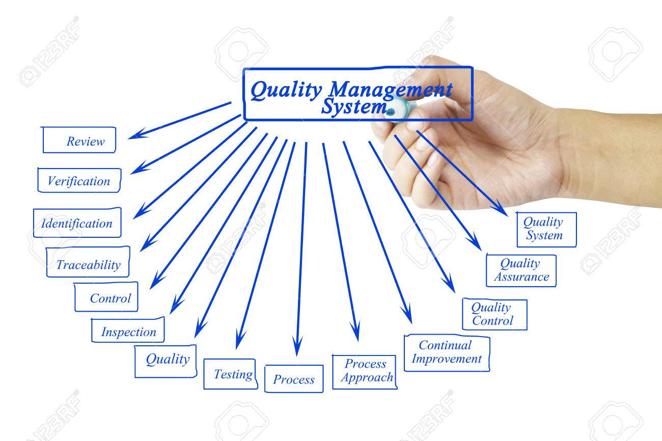 Women hand writing element of Quality Management System for business