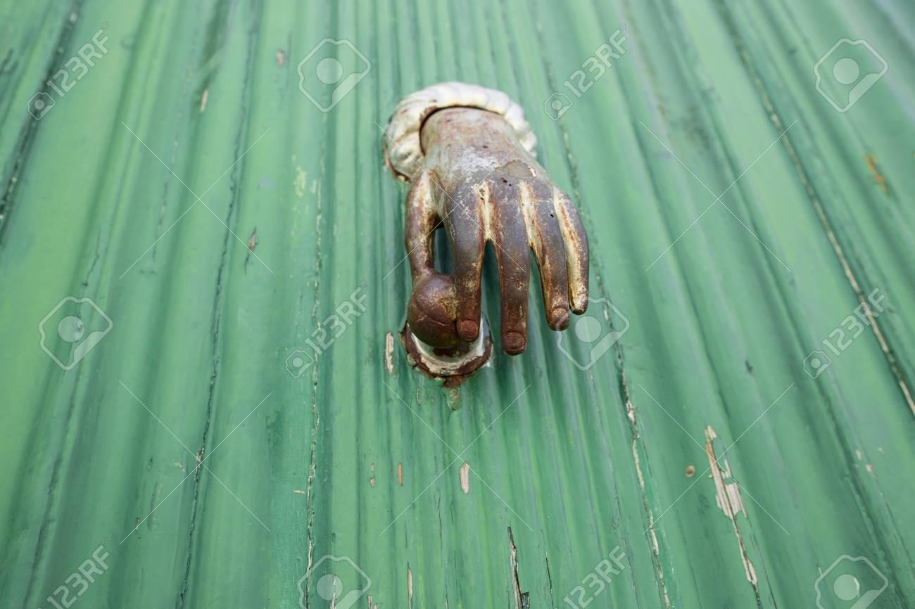 Antique Hand Door Knocker Stock Photo   67027242