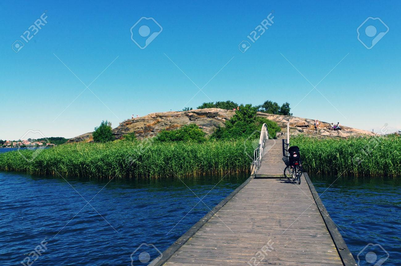 Green Island With A Wooden Bridge Karlskrona Sweden Stock Photo