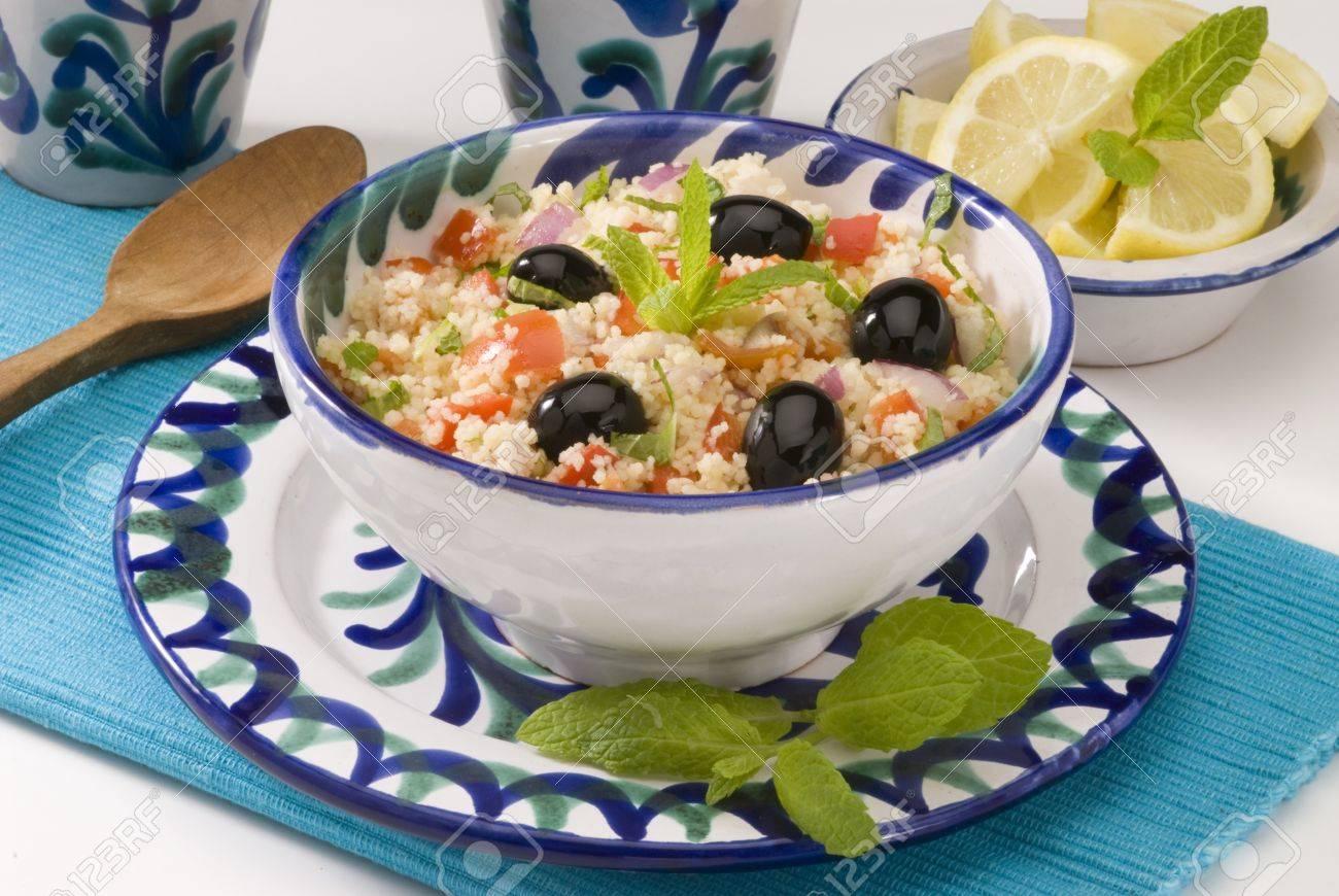 Tabouleh salad in a ceramic bowl  Selective focus Stock Photo - 15265387