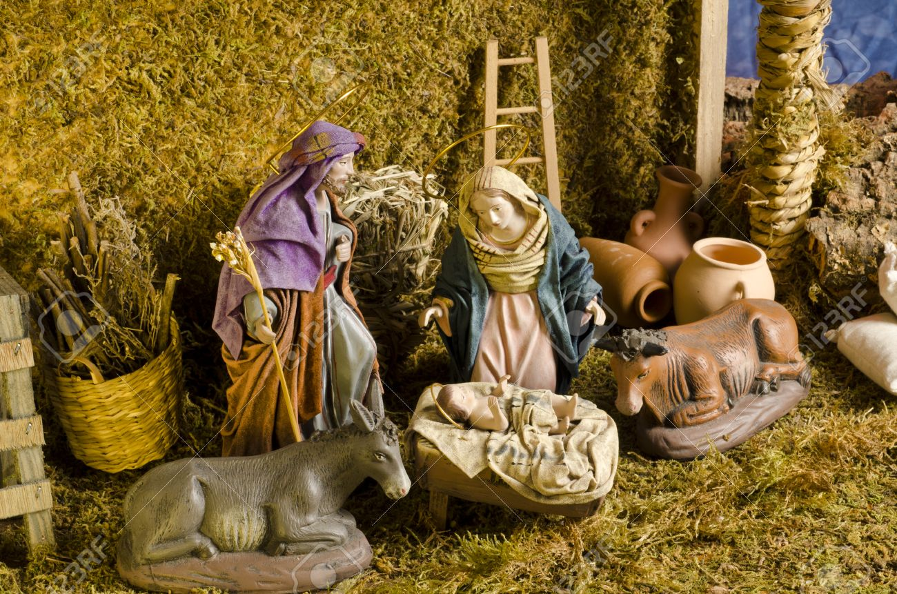 Christmas Crib. Figures Of Baby Jesus, Virgin Mary And St. Joseph ...