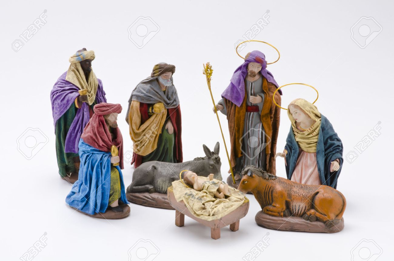 Christmas Crib. Adoration of The Three Wise Men. Baby Jesus in foreground. White Background. Stock Photo - 23117820