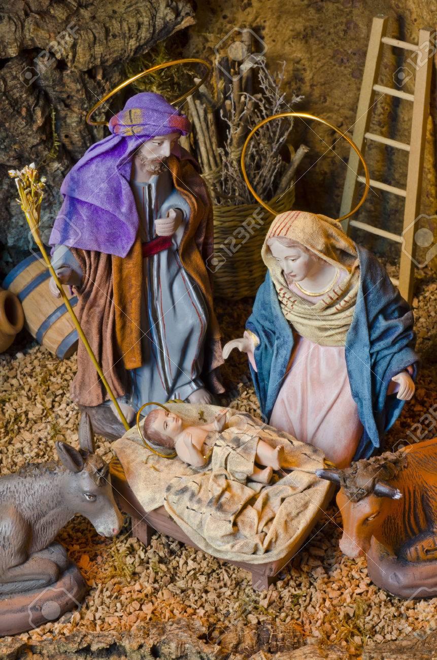 nativity crib figures of baby jesus virgin mary and st joseph