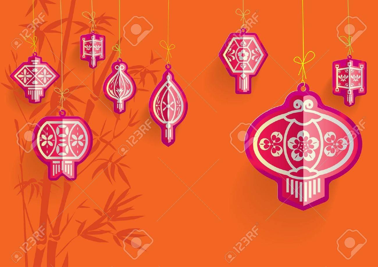 Chinese Lanterns illustration on Orange backgrounds Stock Vector - 11613752