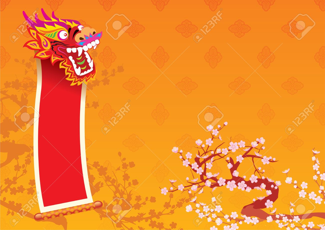 New Year day - Dragon and lucky message background design Stock Vector - 11971834