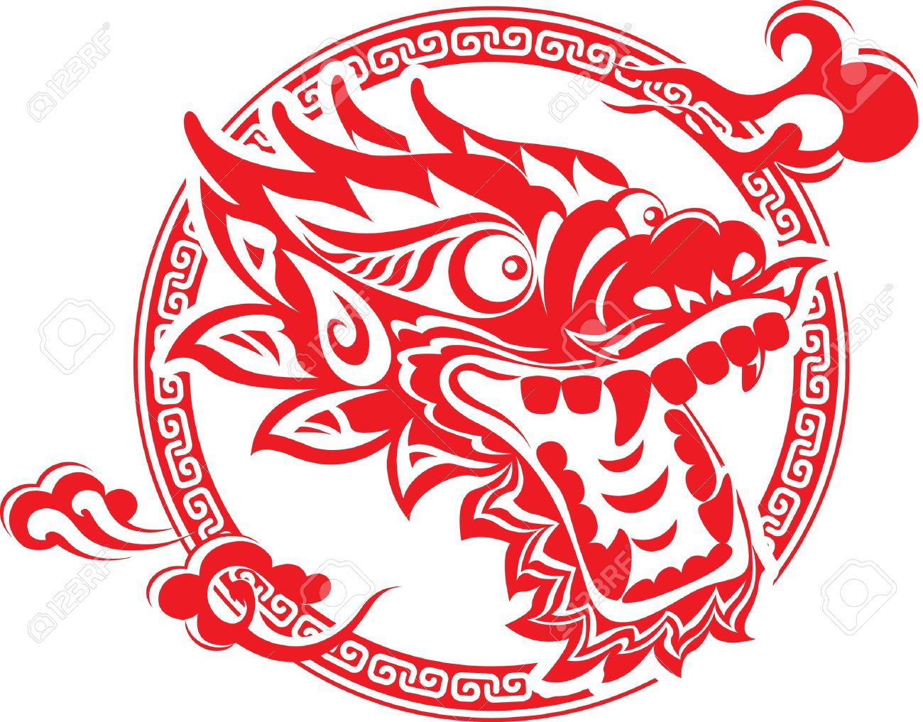 c718d169e Red Chinese Dragon Head Art Royalty Free Cliparts, Vectors, And ...