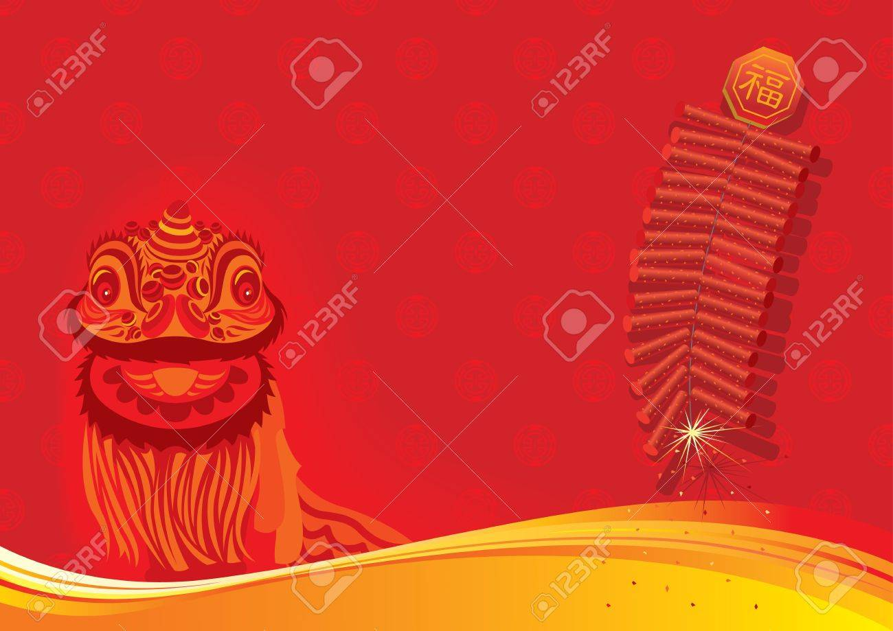 New year day background - Lion dancing and firecracker Stock Vector - 11971832