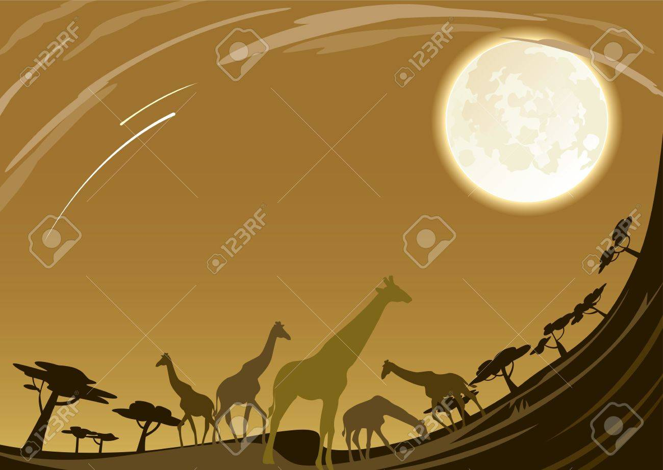 Group of Giraffe family walking in africa under beautiful moon night Stock Vector - 14752355