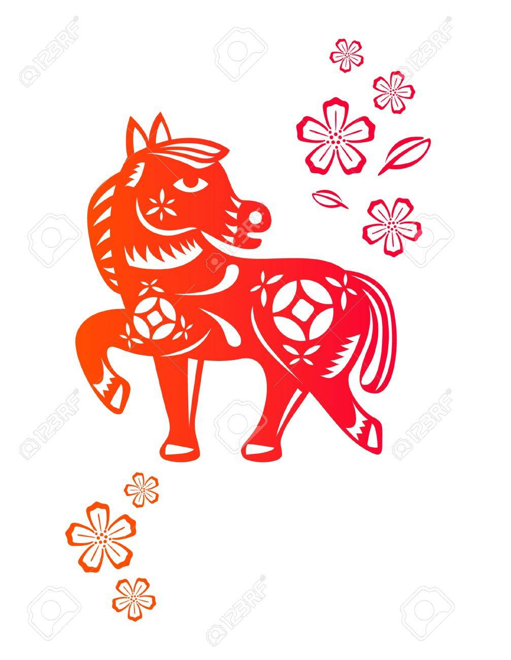 Chinese year of Horse made by traditional chinese paper cut arts Stock Vector - 15220117