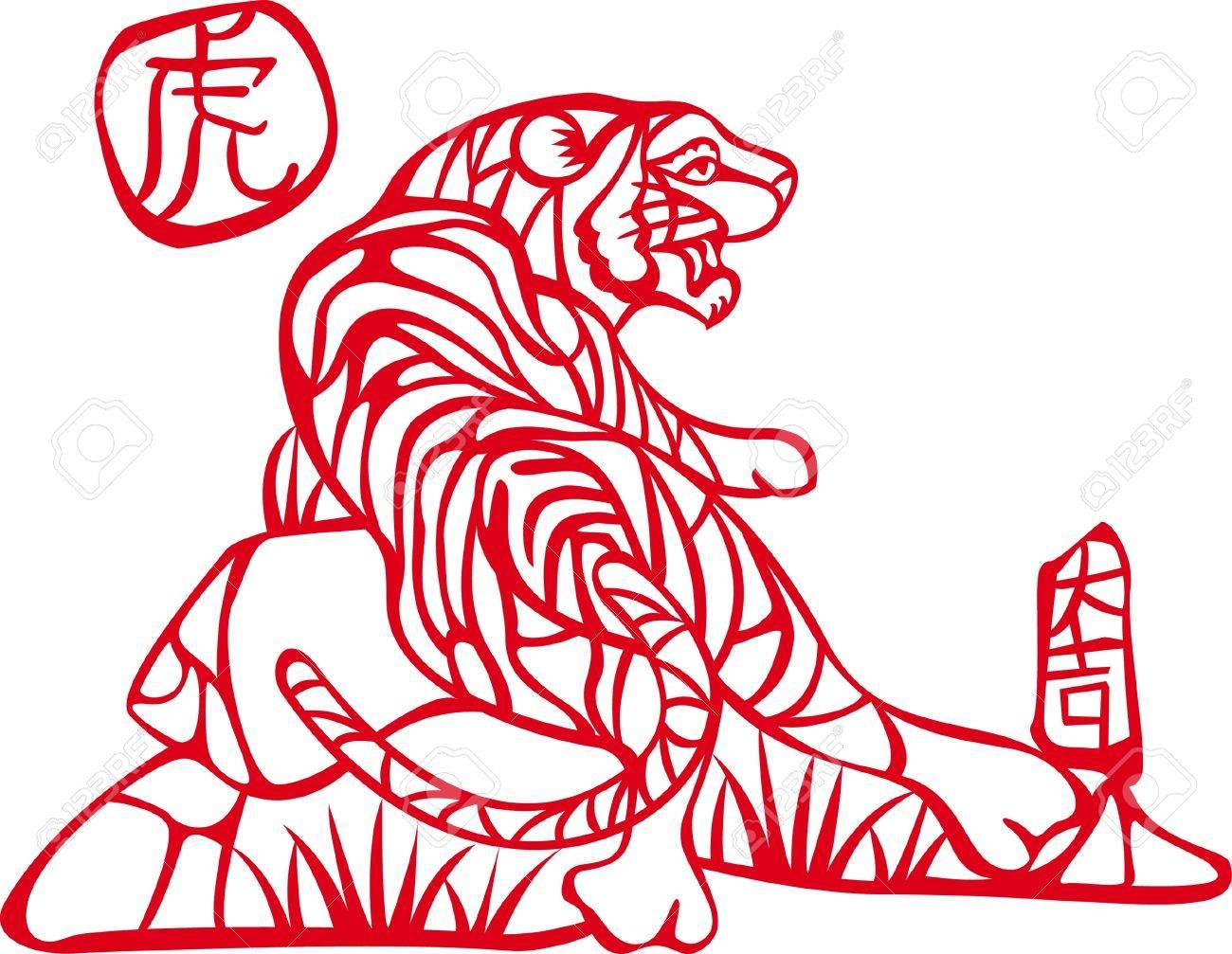 中国語の文字を左虎と権利を中国...