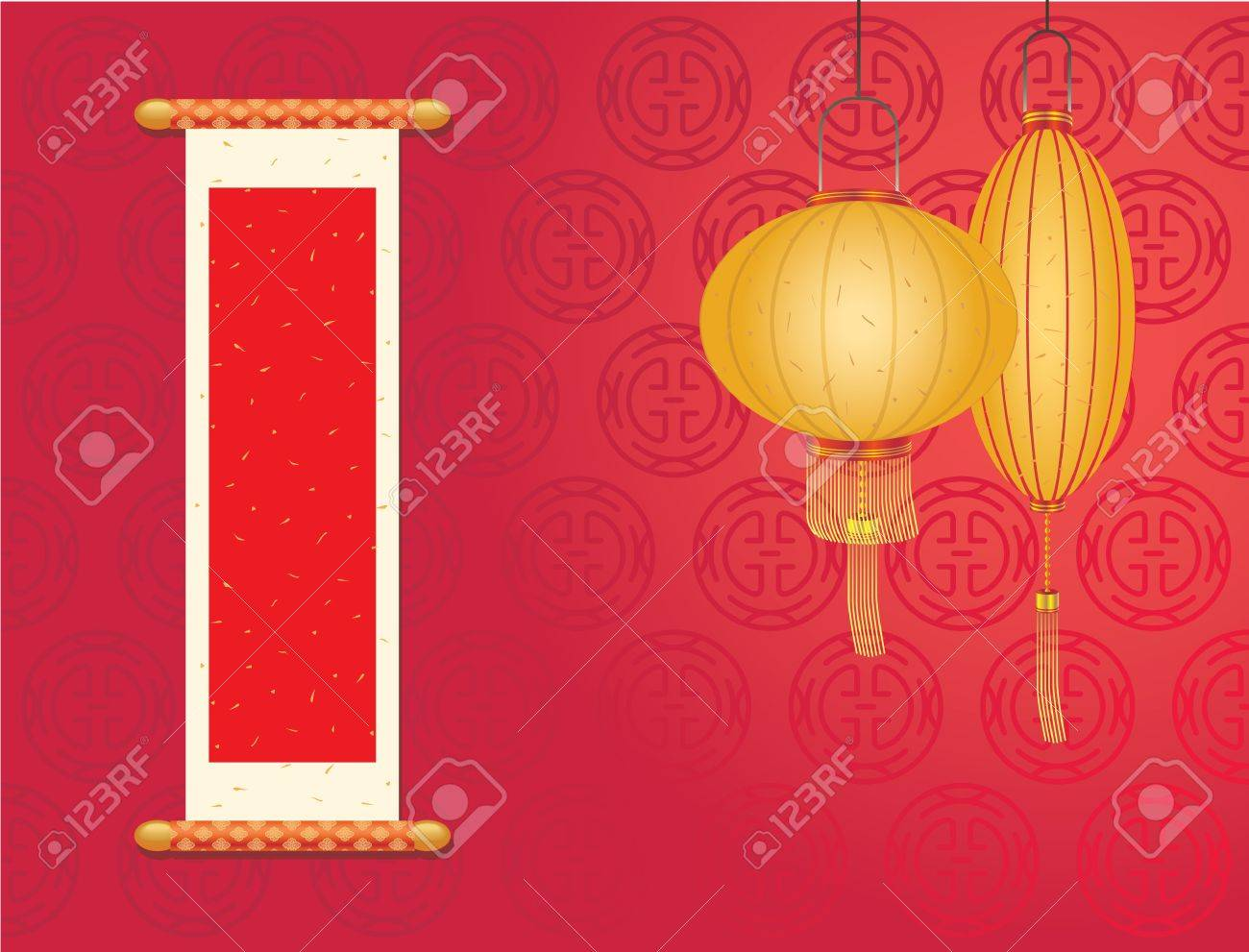 Chinese New day, Red space area  right   Fai Chun  for you to put some lucky message Stock Vector - 15220134