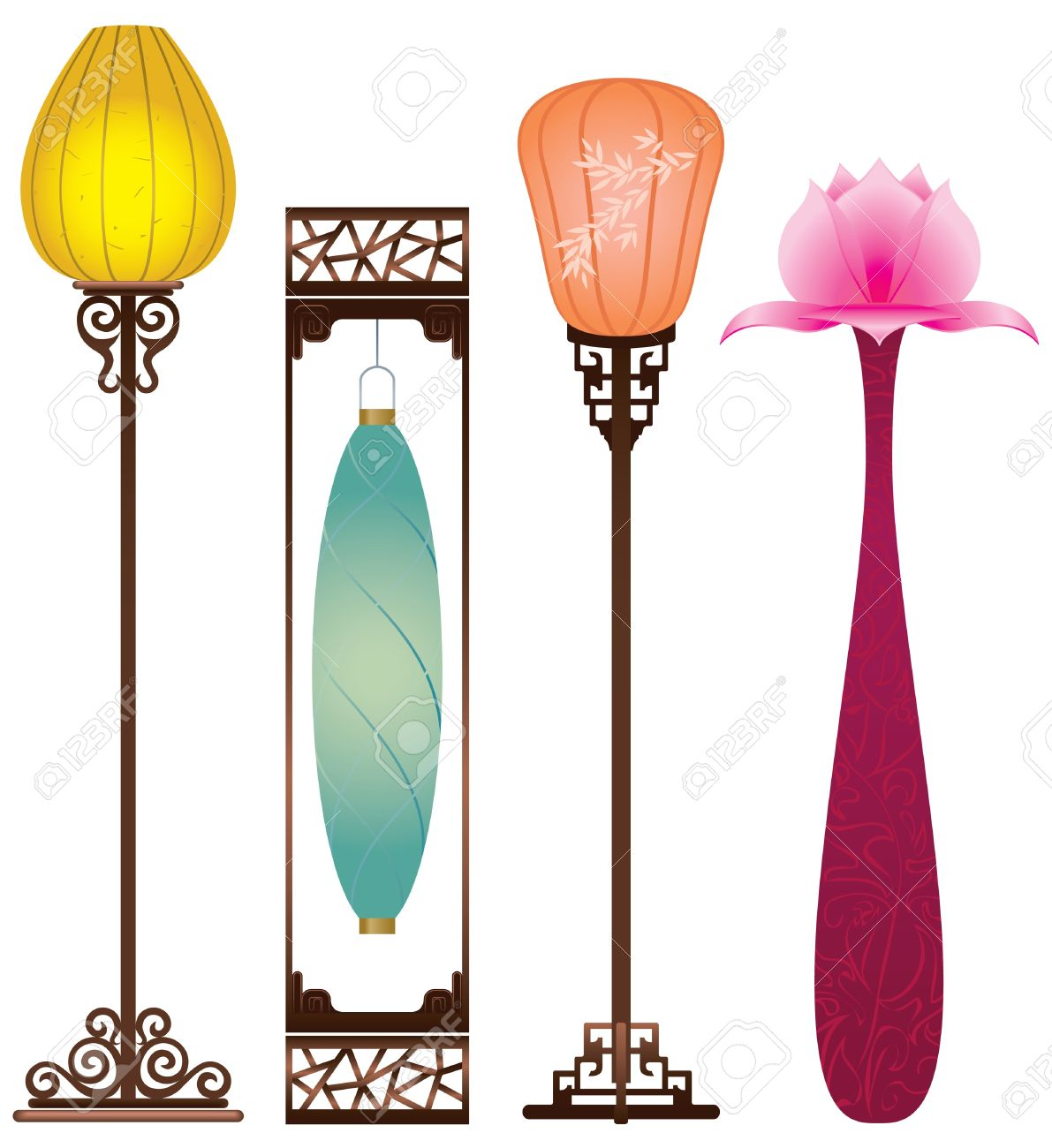 Chinese Antique Floor Lamp Royalty Free Cliparts, Vectors, And ...