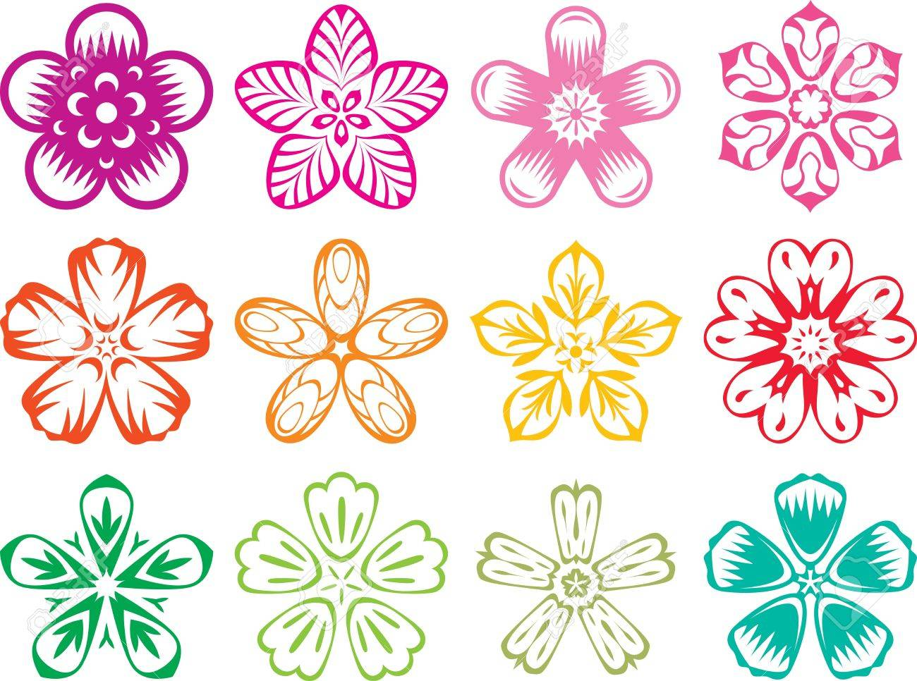vector elements in the style of traditional japanese / chinese, Beautiful flower