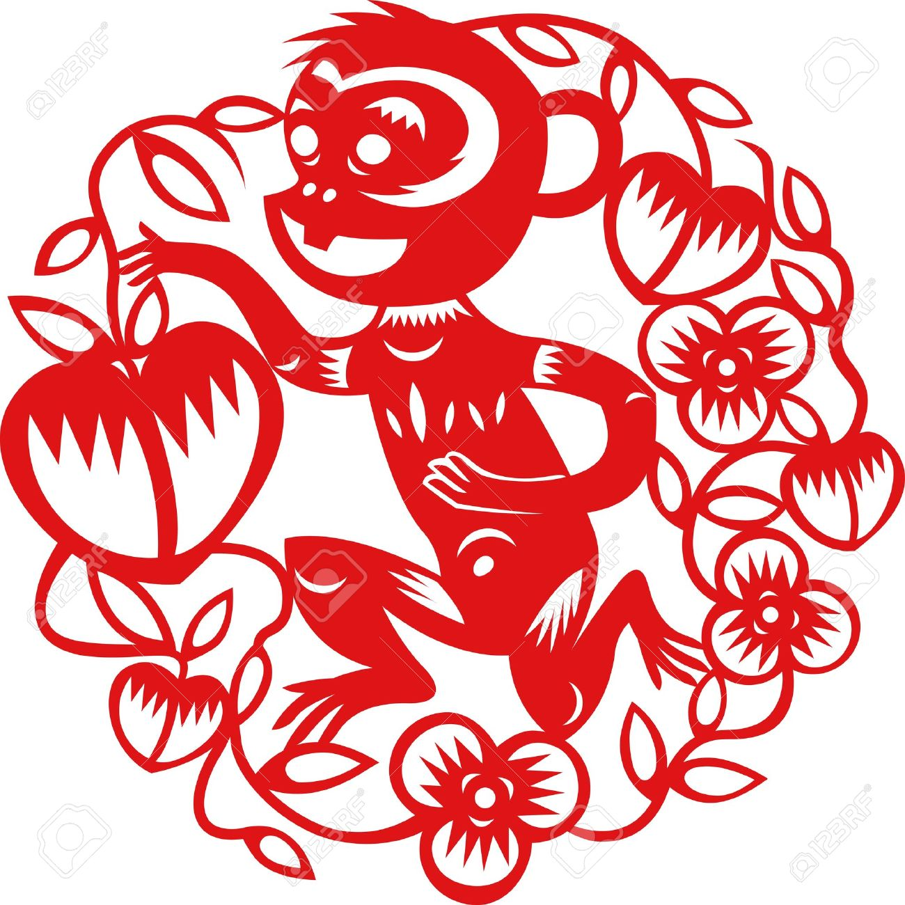 chinese year of monkey made by traditional chinese paper cut arts stock vector 15520295 - Chinese New Year Of The Monkey