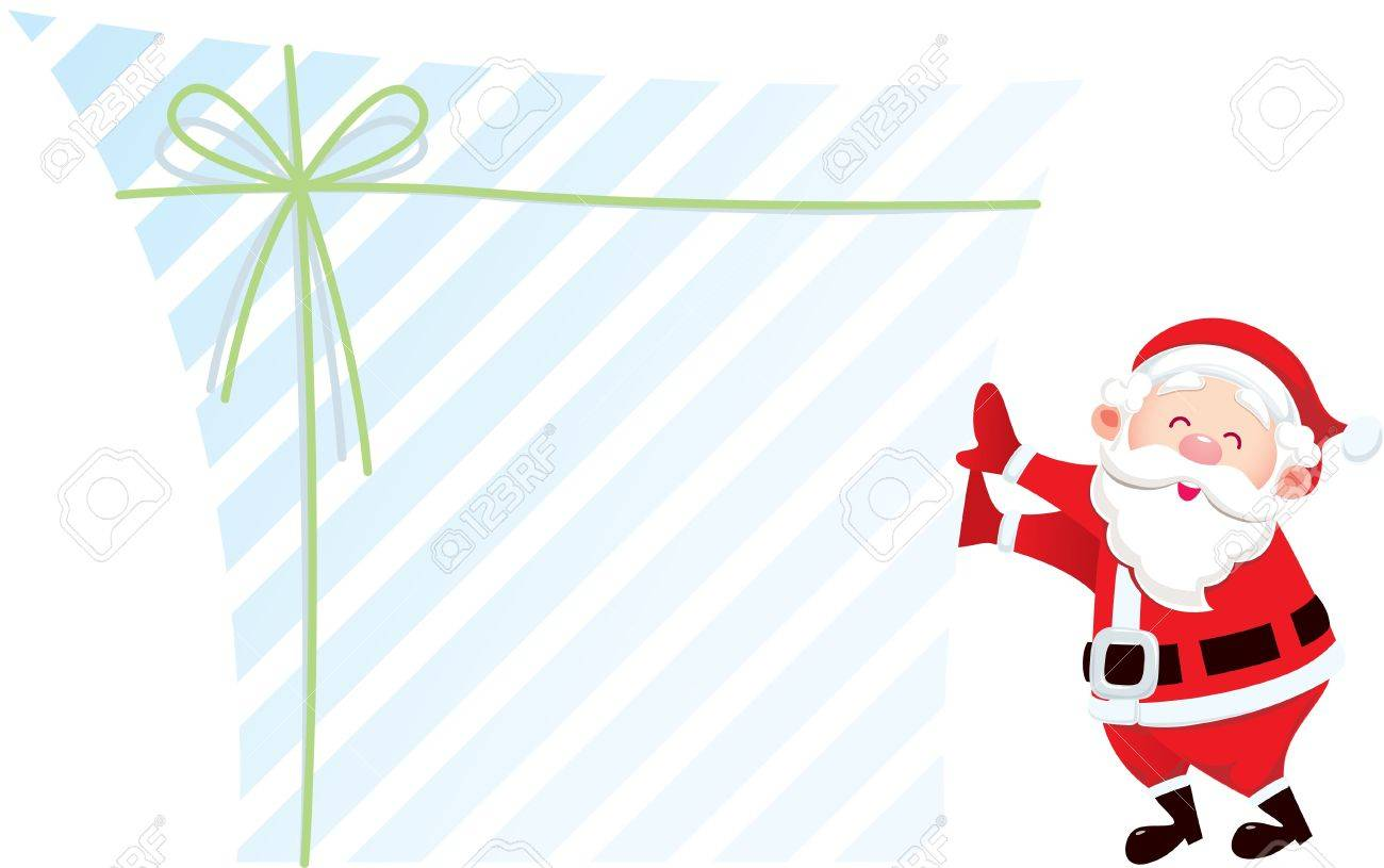 Santa claus and his big gift; designer can fill message on the the blank area of gift box Stock Vector - 15520292