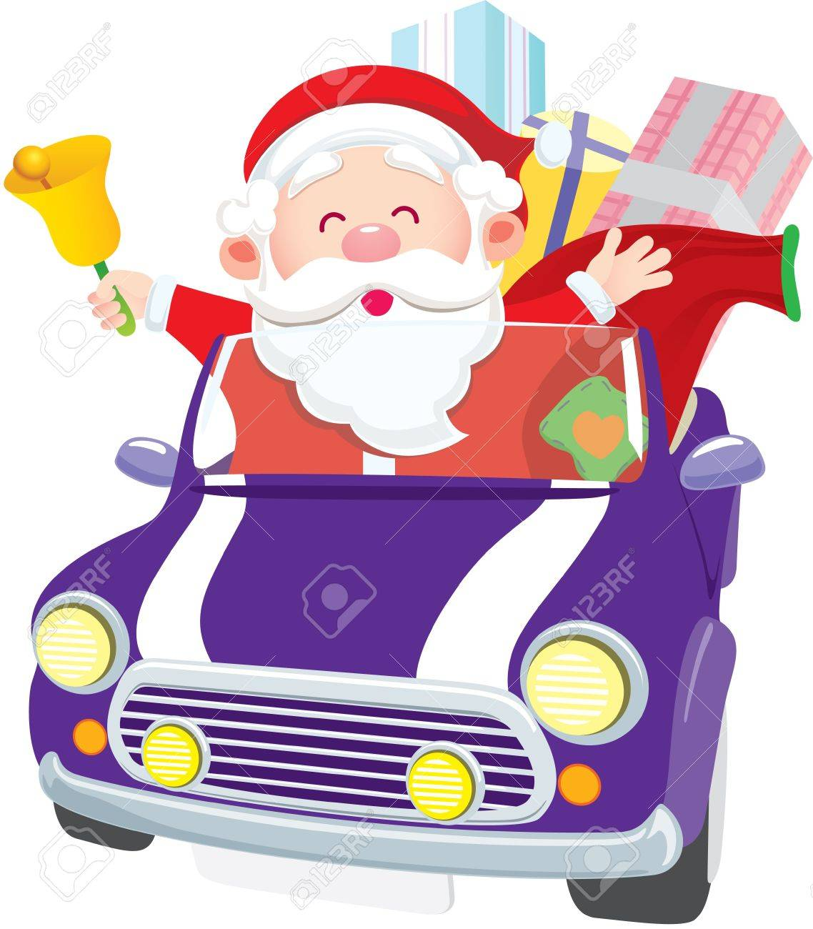 Santa Claus driving car with gift and ring the bell Stock Vector - 15520328