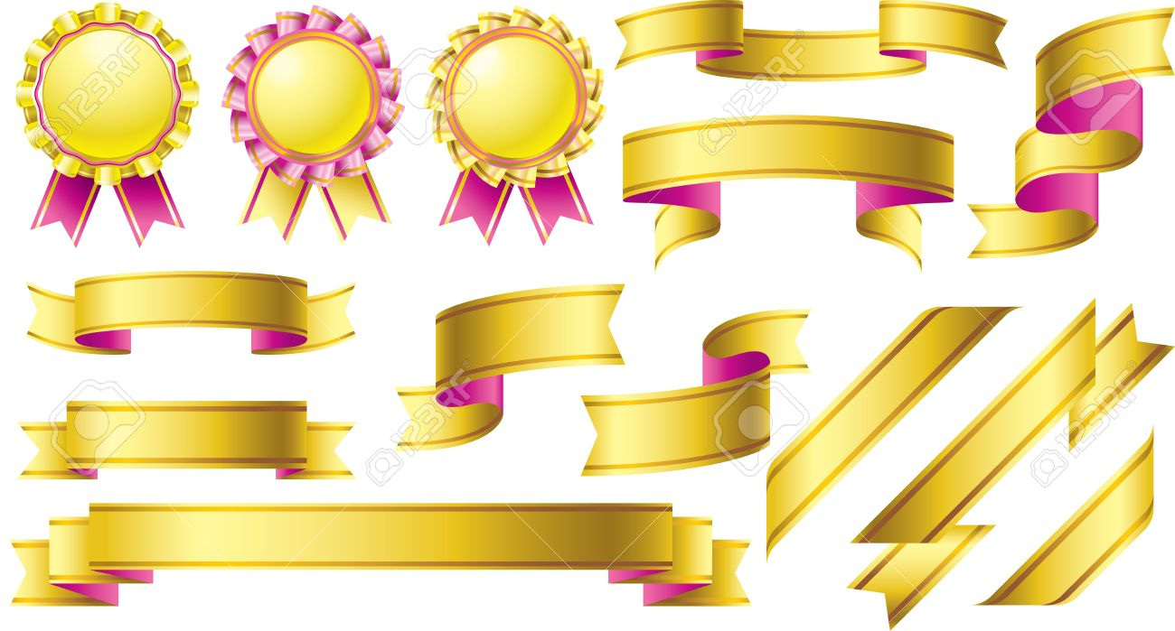 gold awards with pink banner ribbon design element set royalty free