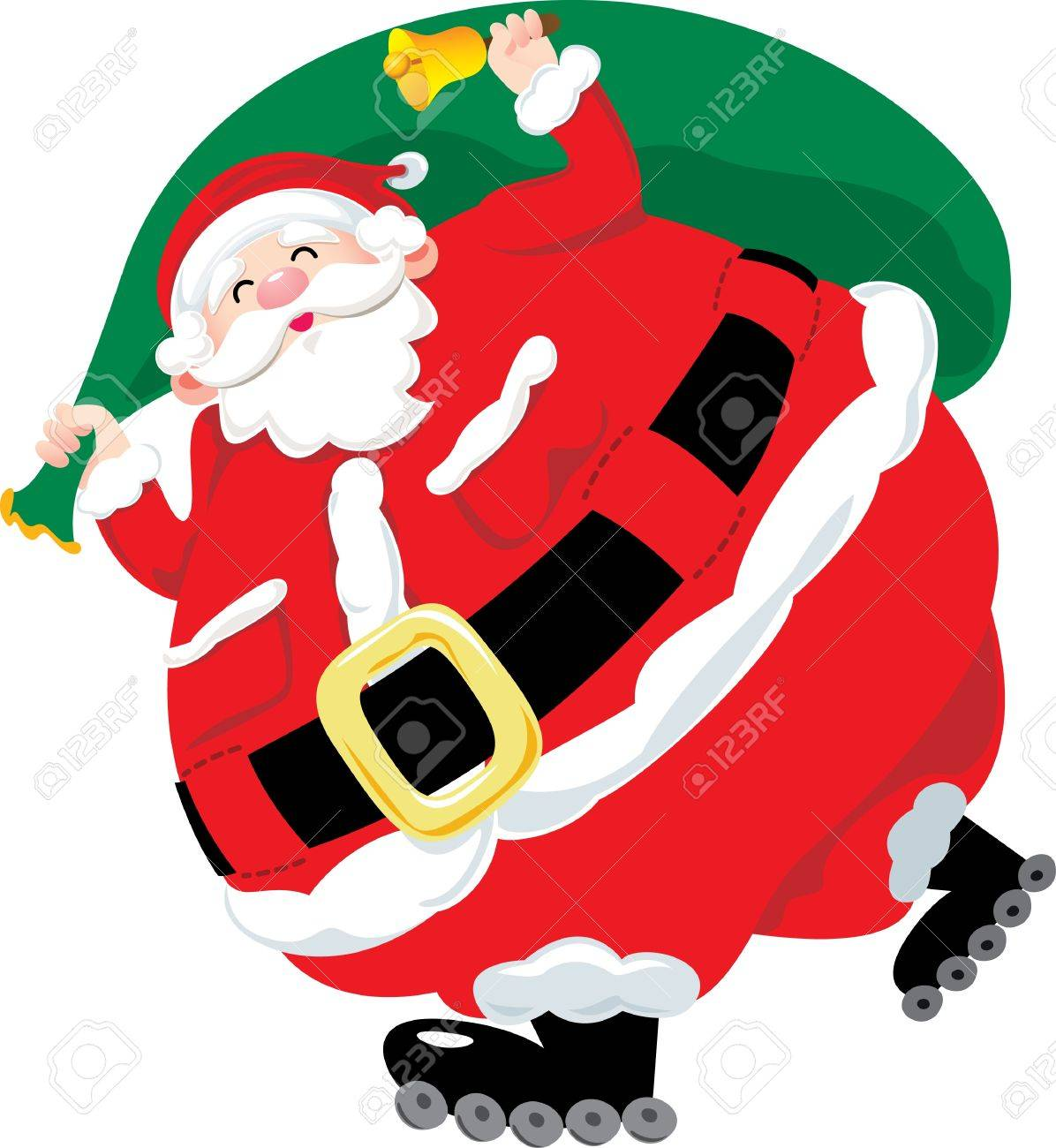 Santa Claus Holding The Present Bag With Roller Skate Royalty Free ...