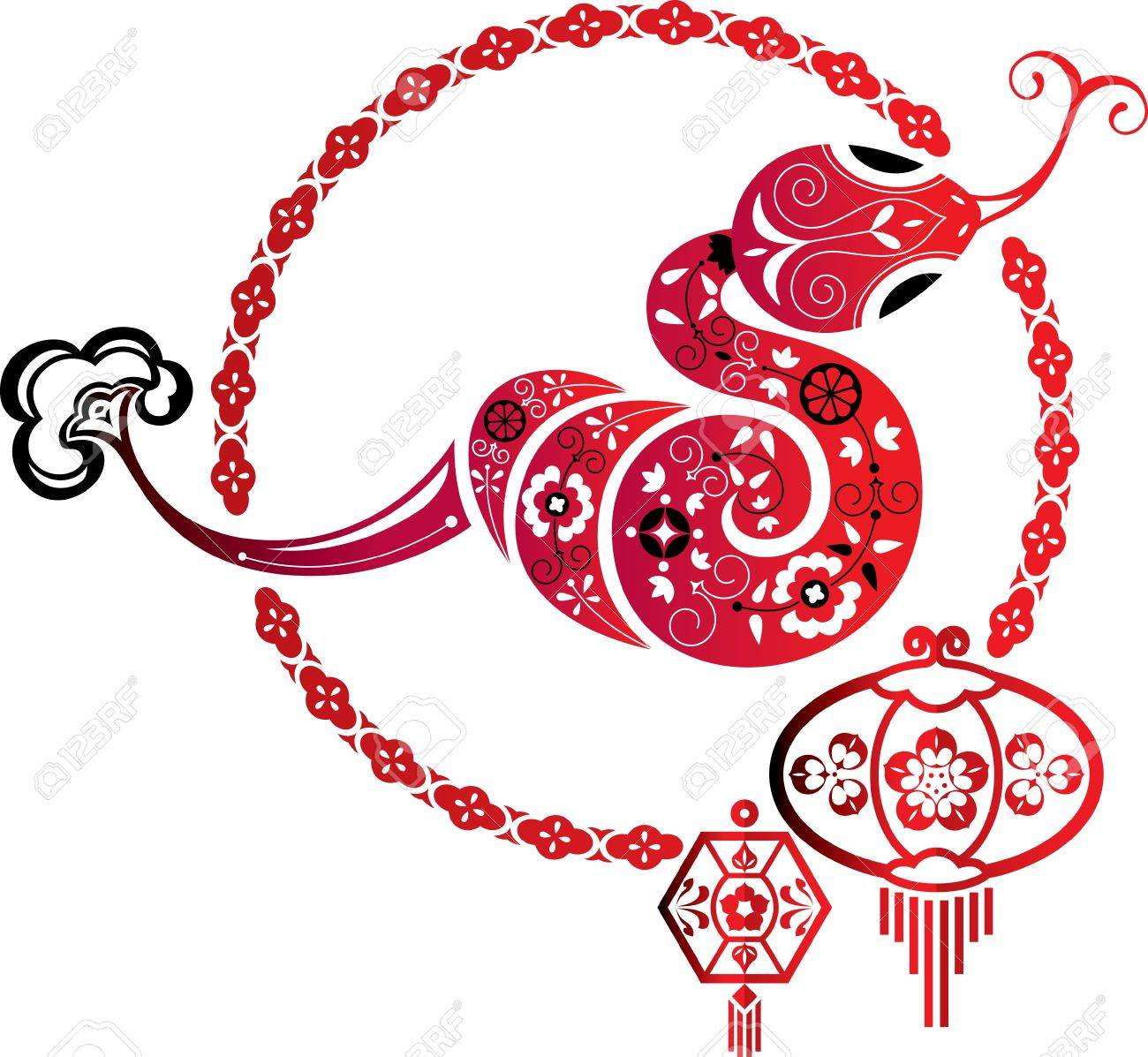 Fortune Snake and Chinese lantern graphic element Stock Vector - 16902956