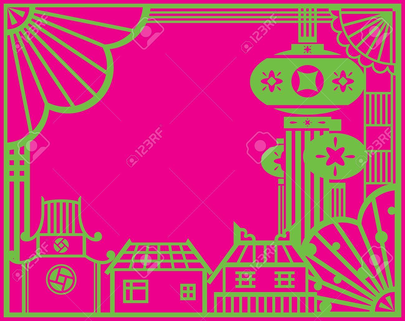 chinese paper cut village and lanterns design graphic design