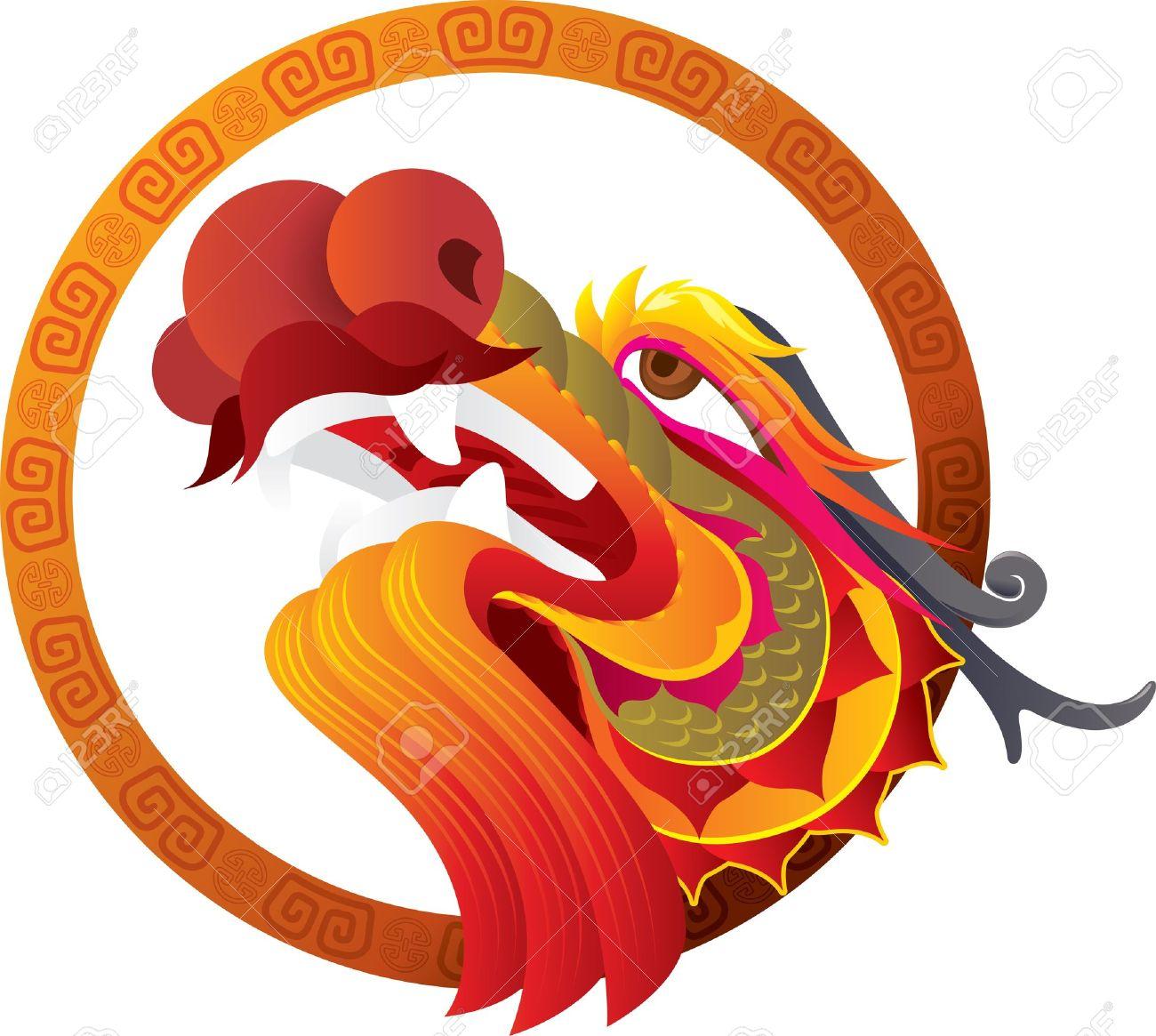 Chinese Dragon Head with border art design illustration Stock Vector - 18622210