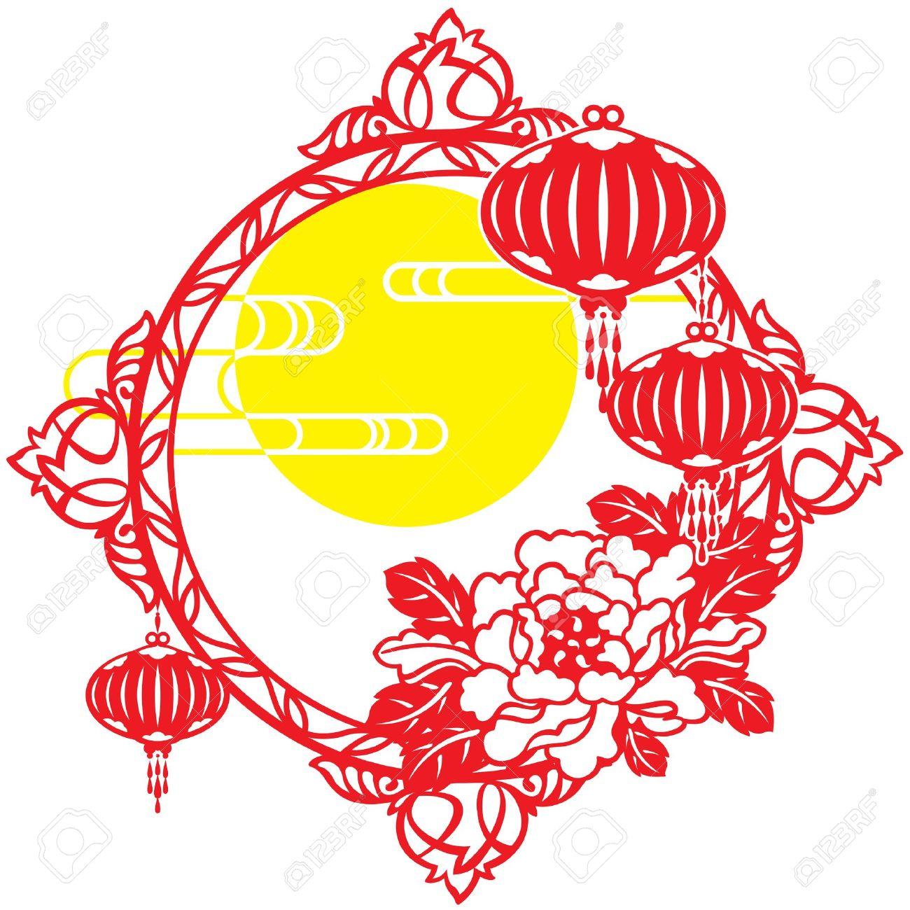 月、フレーム、雲、中国のランタン、中秋、提灯、ランタン、中国の旧