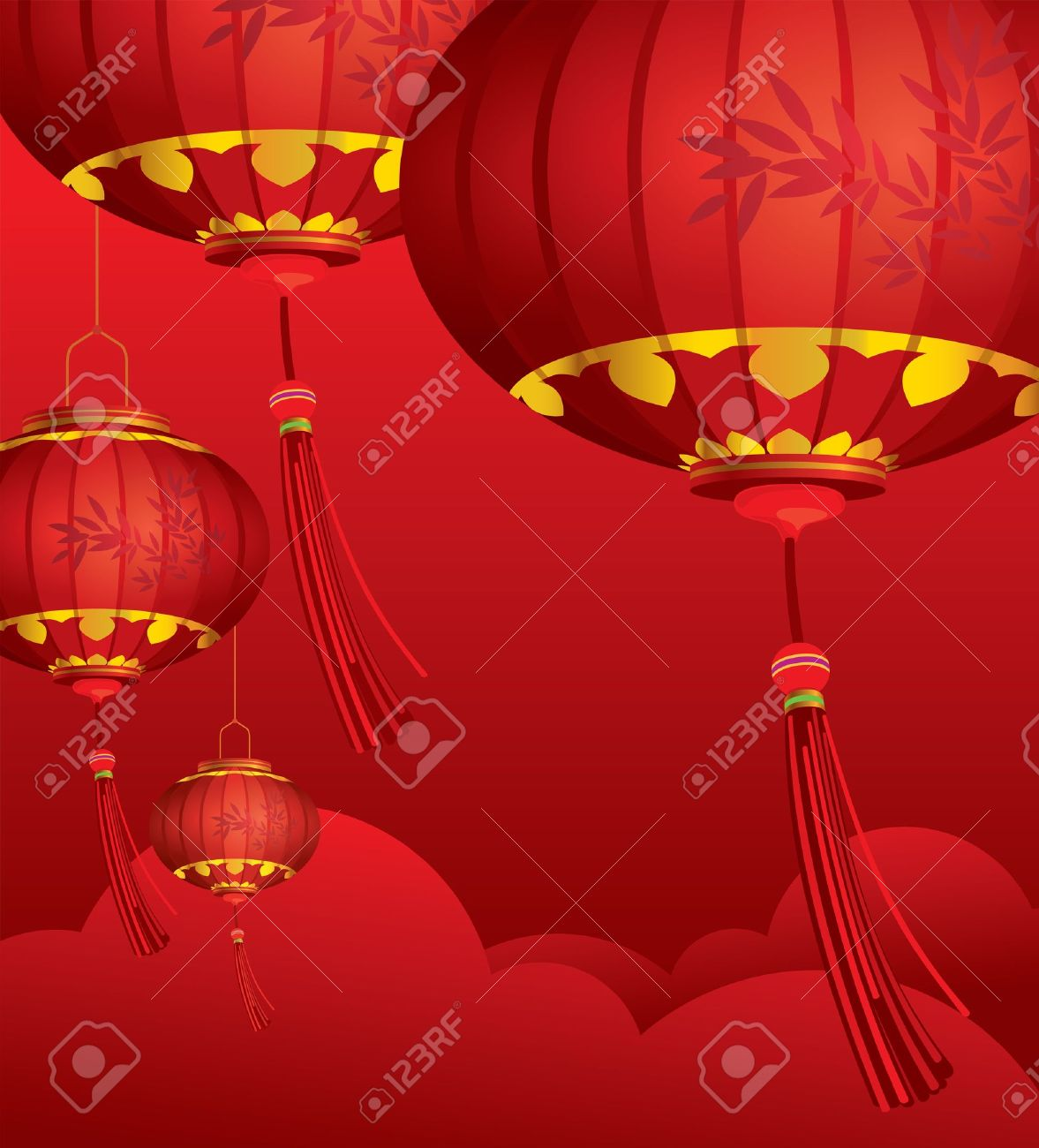 RED Chinese Lanterns Decorations And Cloud Background Stock Vector